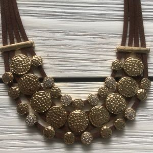 Jewelry - BOLD STATEMENT NECKLACE - Brown & Gold